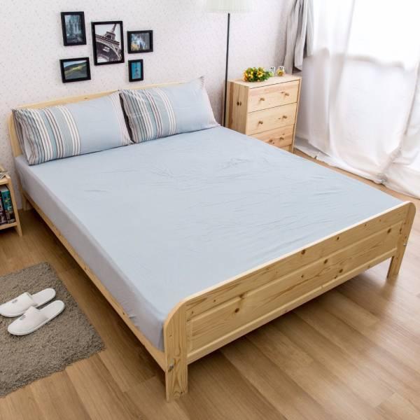 Ally 雙人加大三件式灰藍條紋水洗棉床包組 Ally 雙人加大三件式灰藍條紋水洗棉床包組