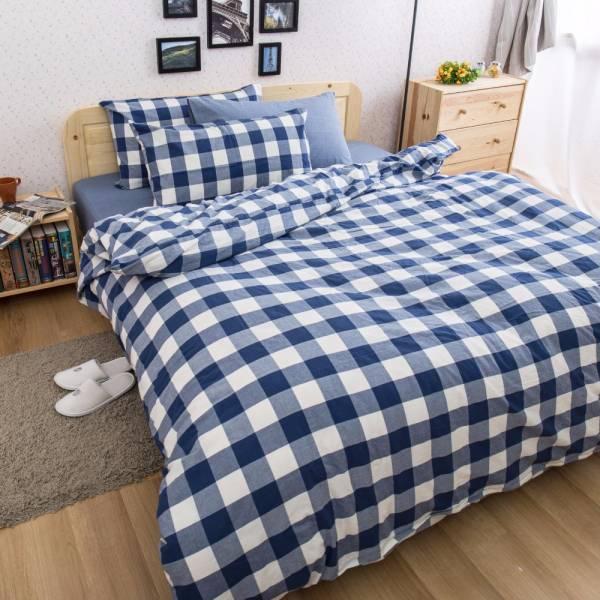 Ally 雙人四件式深藍大格紋水洗棉床包被套組 Ally 雙人四件式深藍大格紋水洗棉床包被套組