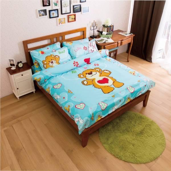 Ally 蘇西動物園陽光寶貝藍純棉雙人床包被套組 Ally 蘇西動物園陽光寶貝藍純棉雙人床包被套組