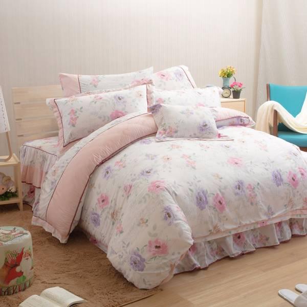 Ally 西崎粉紅玫瑰假期雙人60支純棉七件式床罩組 Ally 西崎粉紅玫瑰假期雙人純棉七件式床罩組