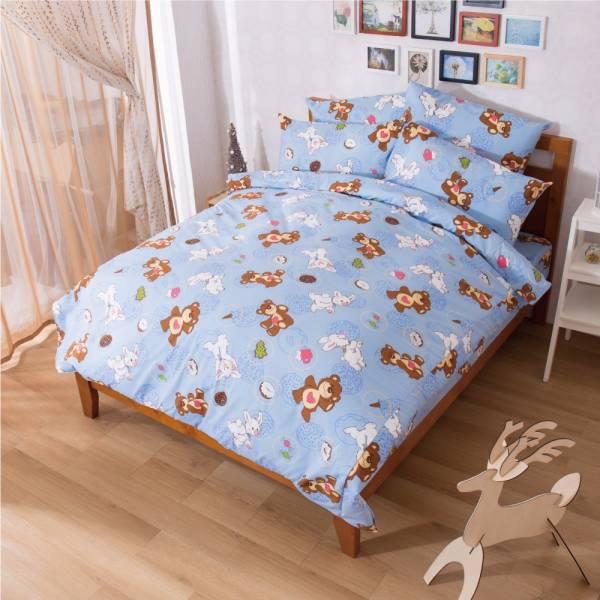 Ally 蘇西動物園甜密好滋味藍磨毛單人床包被套組 Ally 蘇西動物園甜密好滋味藍磨毛單人床包被套組
