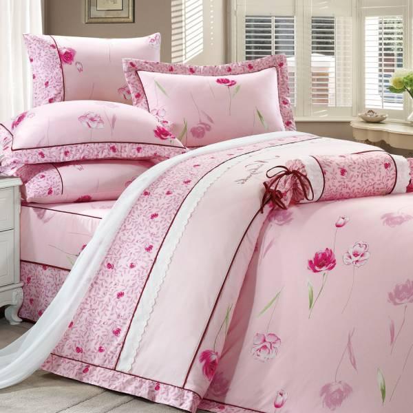 西崎雙人七件式豐璽映花-粉精梳棉床罩組