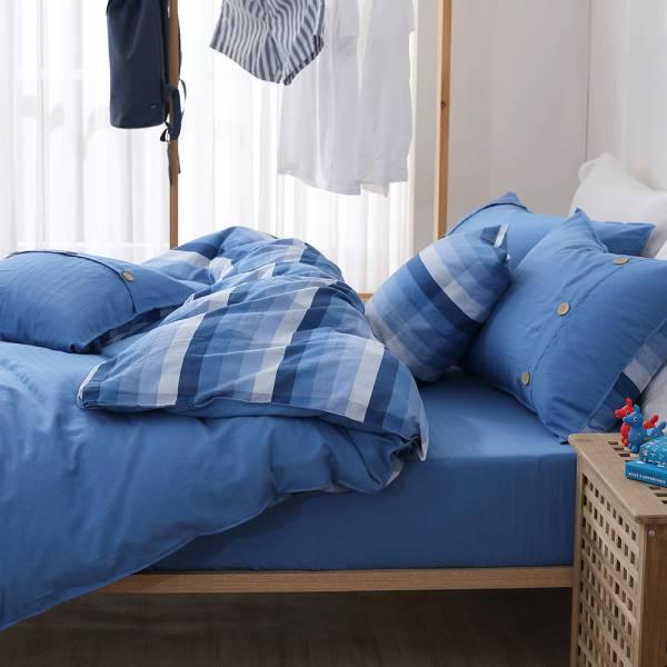 【 好關係 HAOKUANXI 】悠遊海洋-天然色織棉床包枕套組 好關係, HAOKUANXI, haokuanxi, 寢具, 床包, 被套, 枕頭, 棉被, 保潔墊, MIT, 台灣製造, 沐浴朝陽, 天然色織棉,