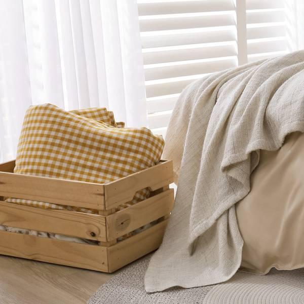 【 好關係 HAOKUANXI 】奶酥黃格-二重紗分享被 好關係, HAOKUANXI, haokuanxi, 寢具, 床包, 被套, 枕頭, 棉被, 保潔墊, MIT, 台灣製造, 奶酥黃格, 棉
