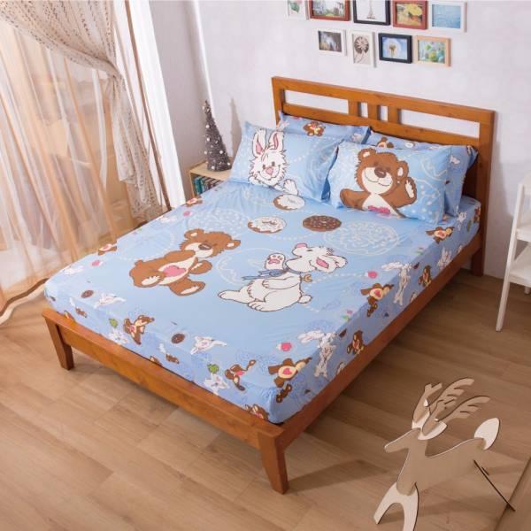 Ally 蘇西動物園甜甜圈藍磨毛單人床包組 Ally 蘇西動物園甜甜圈藍磨毛單人床包組