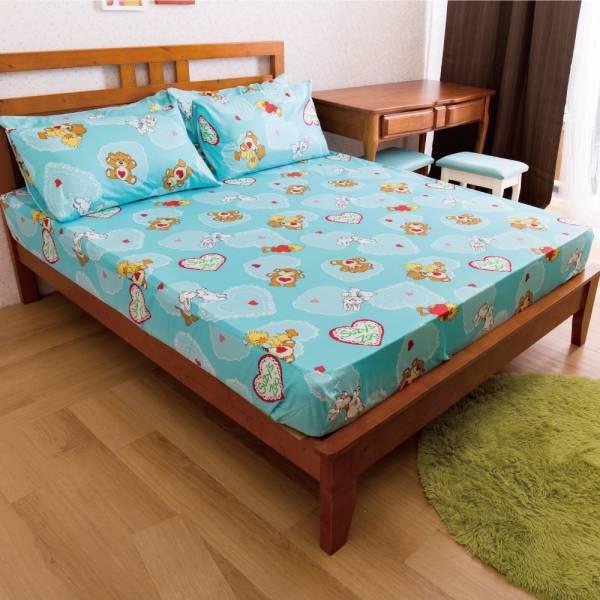 Ally 蘇西動物園幸福滿點藍純棉雙人床包組 Ally 蘇西動物園幸福滿點藍純棉雙人床包組