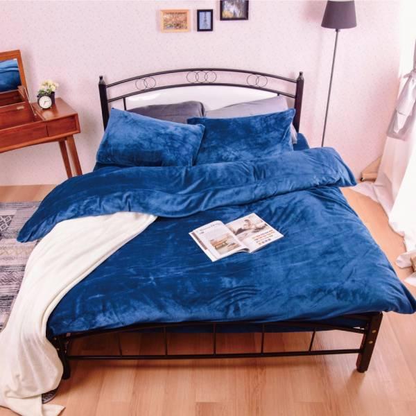 Ally 經典素色寶石藍法蘭絨雙人床包兩用毯被組 Ally 經典素色寶石藍法蘭絨雙人床包兩用毯被組