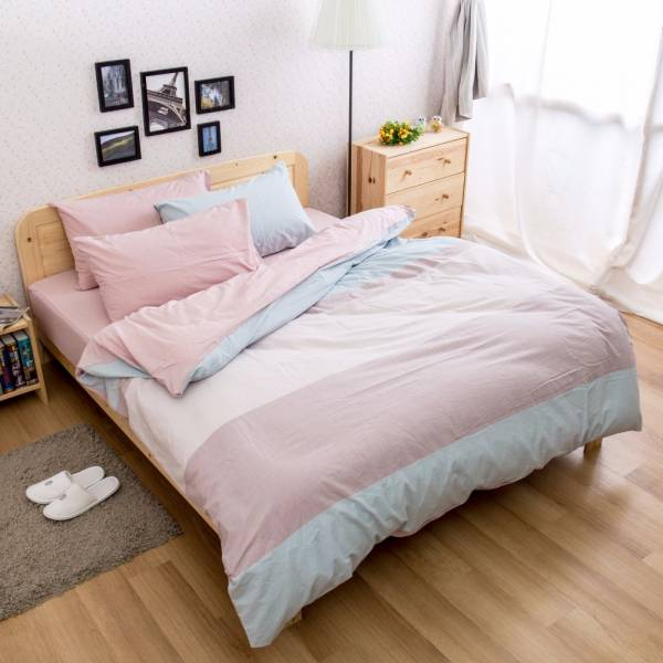 Ally 雙人四件式藍粉色塊水洗棉床包被套組 Ally 雙人四件式藍粉色塊水洗棉床包被套組