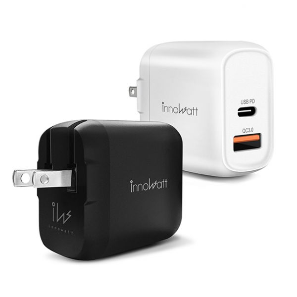 innowatt POWER PD218 可折疊18W雙口USB-C & USB-A快速充電旅充轉接器 (蘋果iPhone安卓通用) PD 18W Samsung Quick Charge QC iPhone 11 快速充電 旅充 可折疊 雙口 USB Type-C