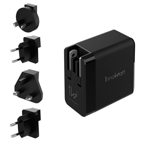 innowatt 氮化鎵GaN USB-C PD 65W(瓦) 電源充電器PD165 全配版 (含擴充轉接器)  GaN innowatt PD165 18W 61W 65W 100W 旅充 充電器 可換插頭 QC