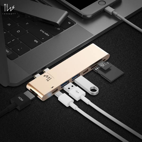 DOCK Pro Plus - USB Type-C Combo Hub iW71 (送5高厚禮) innowatt, Apple, MacBook Pro, 轉接器, hub, dock, iW71, 集線器, adapter, dock, docking, Thunderbolt, USB-C, Type-C, HDMI, 5K, 60Hz, 60fps, HyperDrive, Satechi,