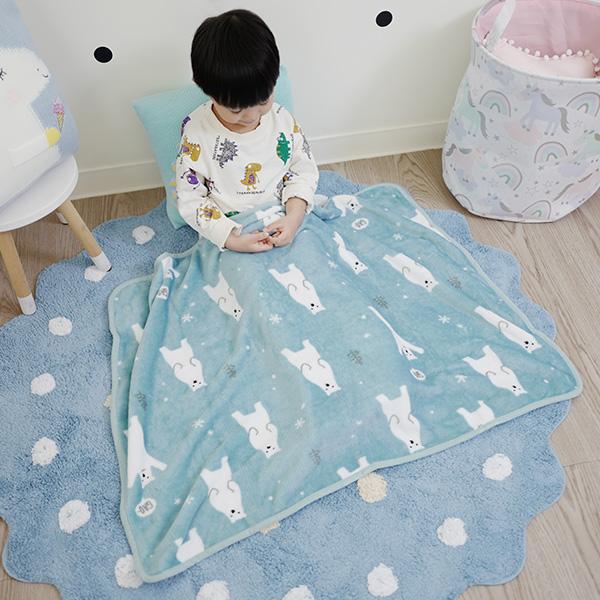 雪花北極熊溫暖法蘭絨小蓋毯 法蘭絨毯 嬰兒毛毯 推車蓋毯 溫暖披肩 披毯