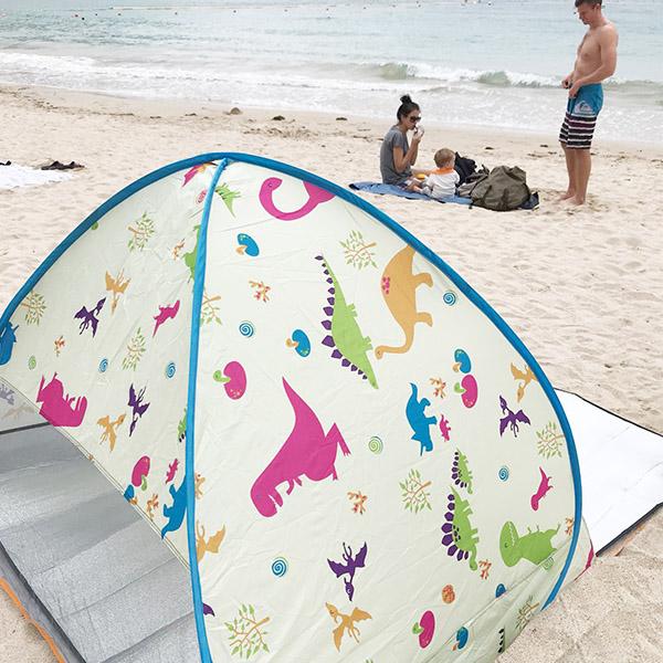 可愛小恐龍防曬野餐速開帳篷/海灘帳篷 POP UP,野餐帳篷,防曬帳篷,速開帳篷,自動秒開帳篷,沙灘帳篷