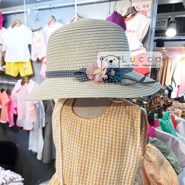 韓國進口 氣質系側邊花朵女童草帽 正韓 韓國進口 花朵 草帽 女童草帽