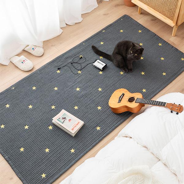 北歐刺繡小星星床邊地墊/窗台墊/走道防滑地墊 客廳地墊,臥室地墊,床邊地墊,沙發防滑墊,窗台墊