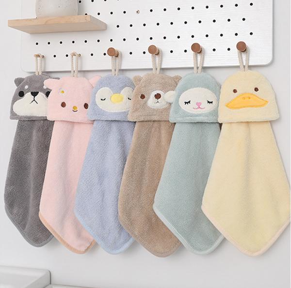 可愛動物柔軟吸水擦手巾(款式隨機贈) 兒童擦手巾,珊瑚絨擦手巾,動物擦手巾