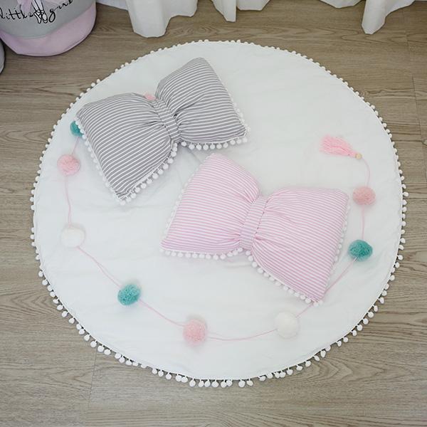 梨花款 超可愛條紋球球蝴蝶結抱枕 可拆洗抱枕 蝴蝶結抱枕