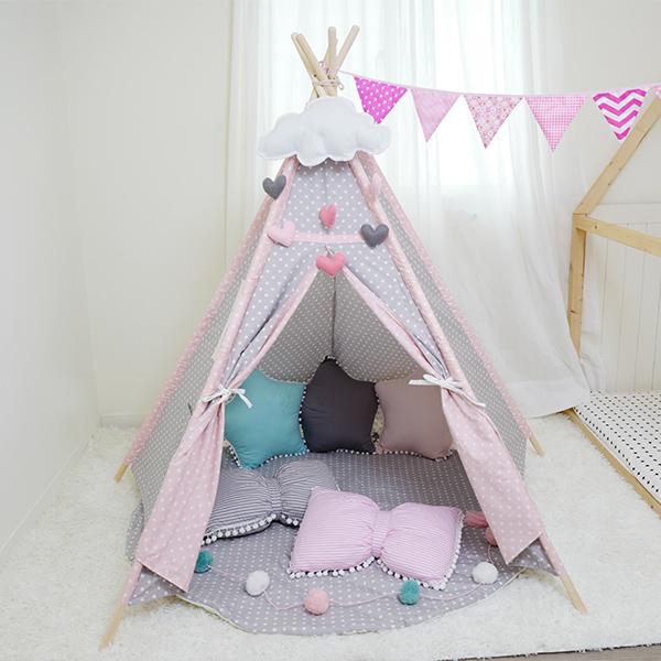 粉灰雙色小星星五角帳篷 室內帳篷 純棉帳篷,IG兒童房佈置,兒童帳篷,兒童寫真道具,