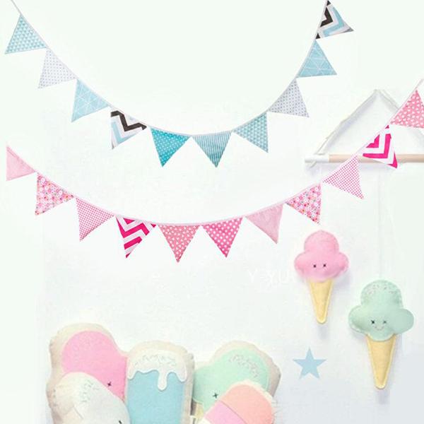 北歐波浪格紋海軍三角旗 三角旗幟,婚禮佈置,生日派對裝飾,兒童房佈置