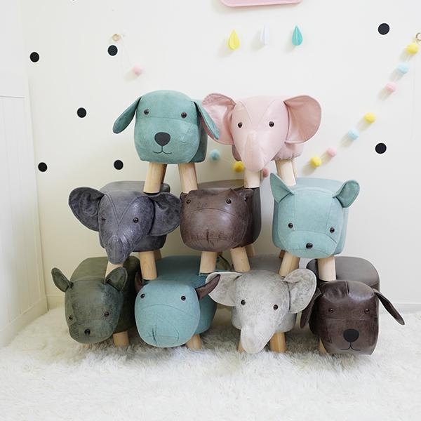 萌趣動物造型實木腳方塊椅凳 家用椅凳 動物椅凳 兒童凳子 兒童換鞋凳 方塊凳 方塊椅子