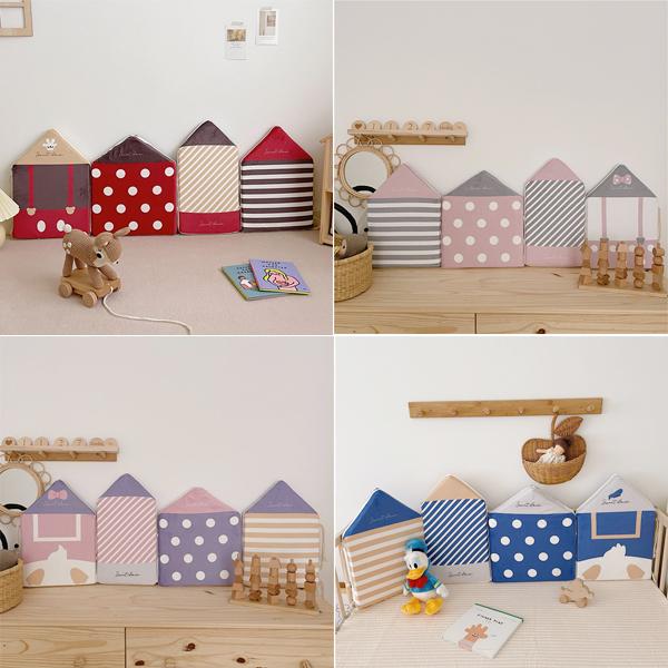 童話小屋造型圓點條紋安全防撞床圍組 (一組四片) 寶寶床圍,嬰兒床圍,牆壁防撞墊