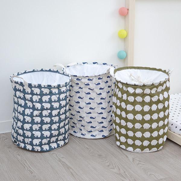 北極熊/小鯨魚/小刺蝟 可束口大尺寸收納籃 玩具收納桶,收納籃