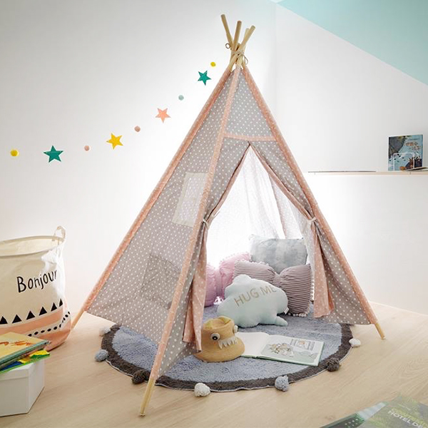 粉灰雙色小星星四角遊戲帳篷 純棉帳篷,IG兒童房佈置,兒童帳篷,兒童寫真道具,