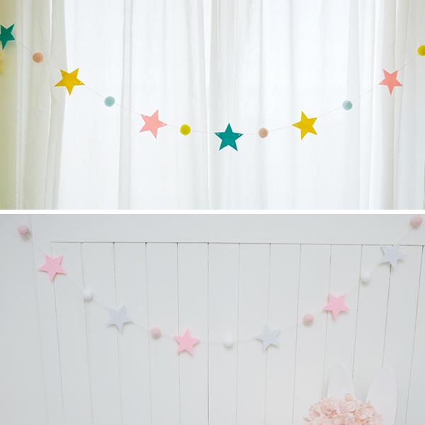 北歐感手工繽紛小星星毛球掛飾 instagram,ig拍照佈景,婚禮佈置,生日派對裝飾,兒童房佈置,帳篷裝飾