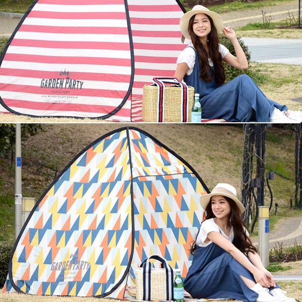 日本POP UP幾何圖案防曬野餐帳篷/沙灘帳篷 POP UP,野餐帳篷,防曬帳篷,速開帳篷,自動秒開帳篷,沙灘帳篷