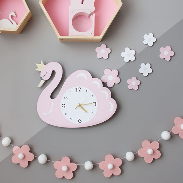 夢幻小公主天鵝靜音時鐘 兒童房時鐘  學習時鐘 天鵝時鐘 靜音時鐘 兒童時鐘 動物時鐘