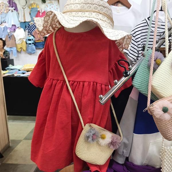 ♦ 4折出清 ♦ 韓國進口 質感設計紗花朵草編小包 女童包包 正韓 韓國進口 花朵 草編包 編織包 女童 包包
