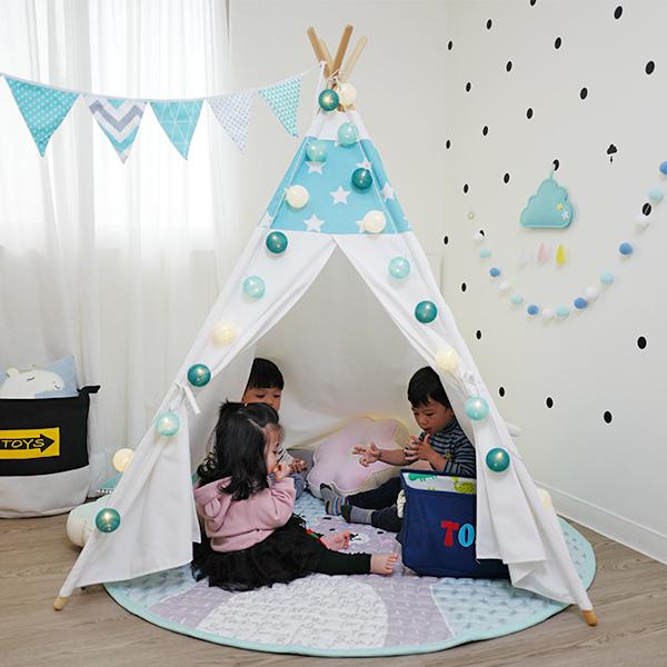 童趣拼接藍底白星星四角帳篷 兒童帳篷,兒童玩具帳篷,遊戲帳篷,小木屋帳篷,兒童房佈置