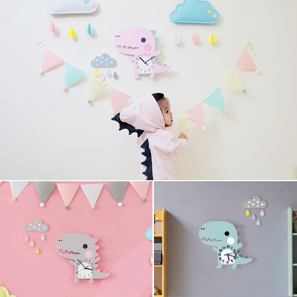 超可愛立體小恐龍無聲靜音時鐘 兒童房時鐘  學習時鐘 恐龍時鐘 靜音時鐘 兒童時鐘 動物時鐘