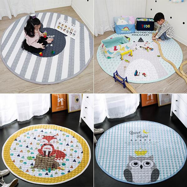 韓國質感純棉加大150cm圓形地墊 遊戲地墊,兒童房佈置,爬行地墊,兒童地墊,房間地墊,防滑地墊