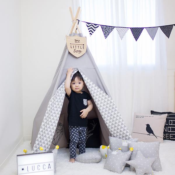 北歐灰色三角純棉帆布兒童四角帳篷 兒童印地安帳篷,兒童純棉帳篷,兒童玩具帳篷,遊戲帳篷,兒童房佈置