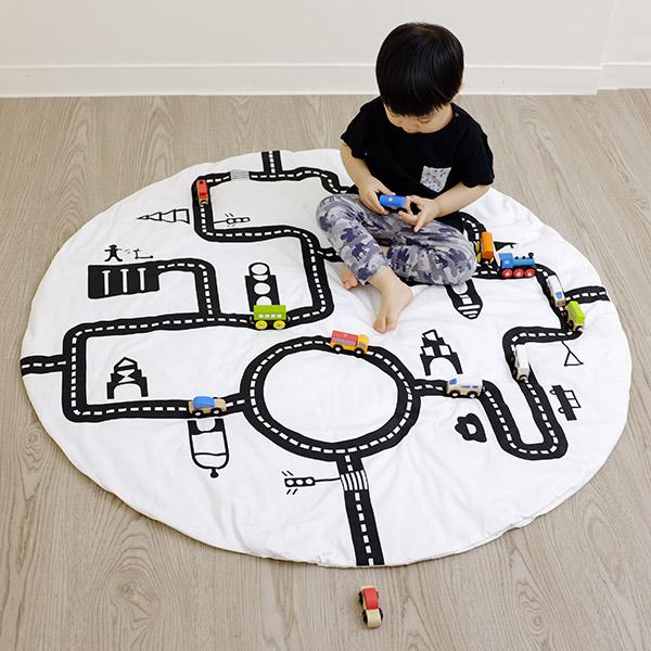 歐美外銷純棉道路遊戲地墊 圓形120cm instagram,ig拍照佈景,遊戲地墊,兒童房佈置,帳篷地墊
