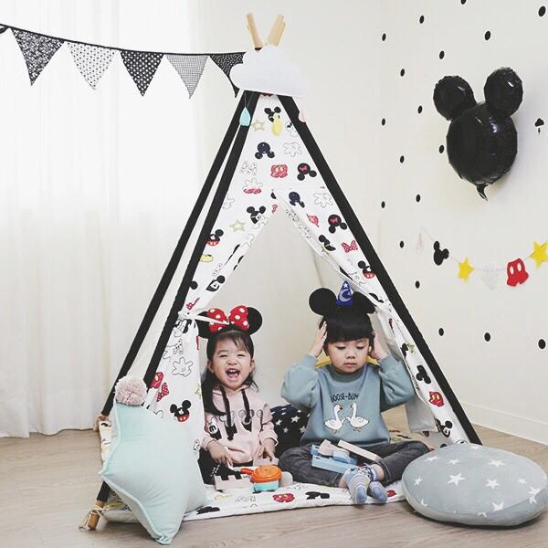 可愛米奇風黑邊兒童四角遊戲帳篷 兒童印地安帳篷,兒童純棉帳篷,遊戲帳篷,兒童房佈置,兒童小木屋