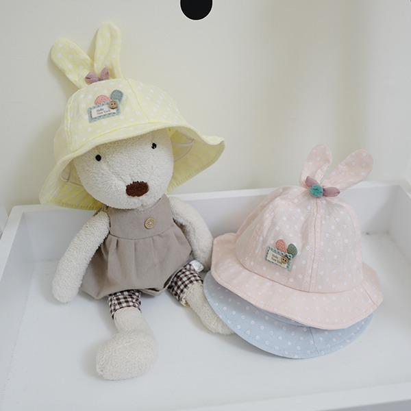 韓製粉嫩圓點透氣兔耳朵Baby純棉遮陽帽 正韓 韓國進口 韓製 幼兒遮陽帽  baby遮陽帽 造型帽