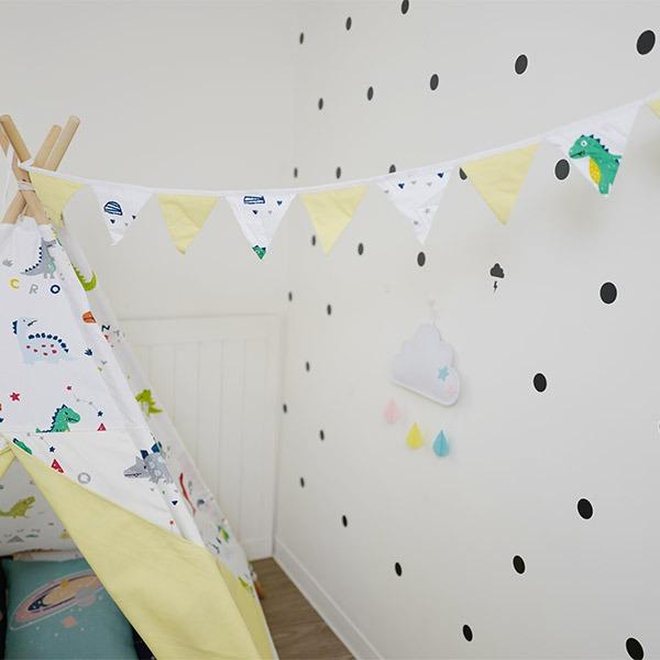 韓系小恐龍純棉布三角旗 三角旗幟,婚禮佈置,生日派對裝飾,兒童房佈置