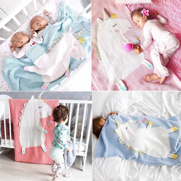 歐美IG爆紅夢幻獨角獸針織毛毯 毛線毯,毛毯,寶寶蓋毯,instagram,ig拍照佈景,嬰兒床毯,午覺毯,寶寶抱毯,獨角獸