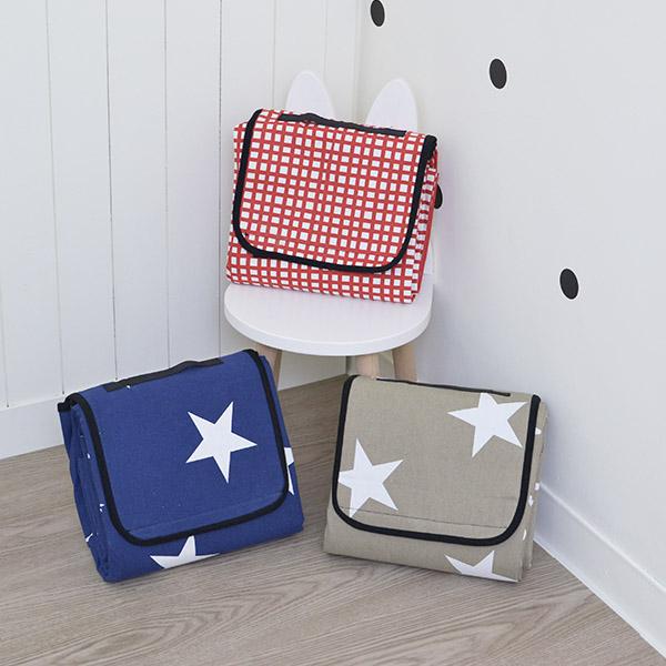 歐美外銷手提式星星/紅白格子帆布野餐墊 野餐地墊,帳篷地墊,沙灘墊