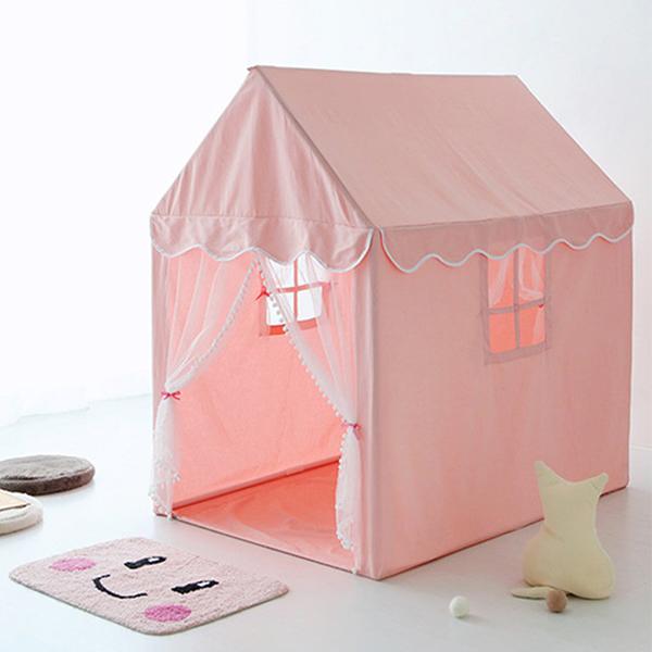 北歐純粉棉質小絨球公主房帳篷 兒童帳篷,室內帳篷,公主房佈置,小屋子帳篷,房屋帳篷,遊戲帳篷