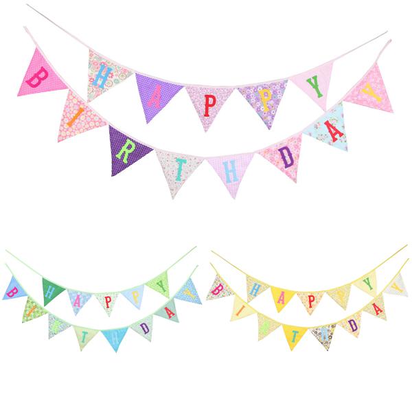 生日派對佈置法式花布三角旗 生日佈置,派對佈置,派對裝飾,週歲佈置,歐美兒童生日佈置,幼稚園佈置生日,兒童攝影背景