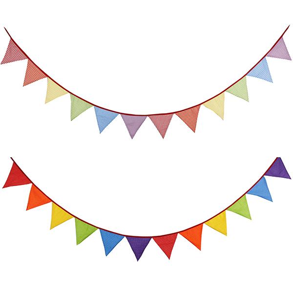 繽紛彩虹色小圓點/格紋棉布三角旗 三角旗幟,活動佈置,派對裝飾,兒童房佈置,棉布三角旗,