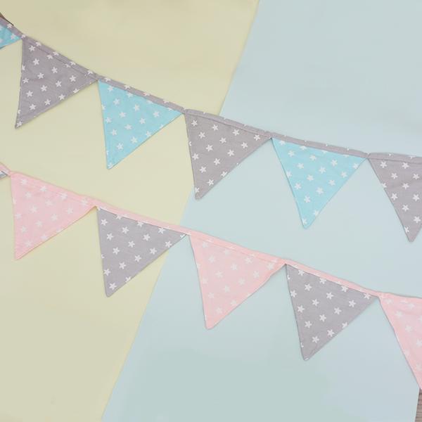北歐雙色小星星生日派對佈置三角旗 三角旗幟,聖誕佈置,派對裝飾,兒童房佈置