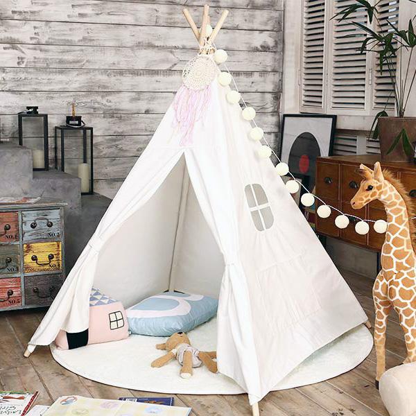 歐美簡約白色純棉帆布兒童四角帳篷 兒童印地安帳篷,兒童帳篷,兒童玩具帳篷,遊戲帳篷,兒童房佈置