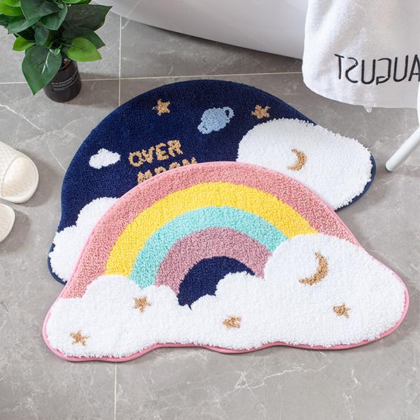童趣雲朵彩虹/星空浴室防滑腳踏墊 防滑地墊,吸水地墊,浴室地墊