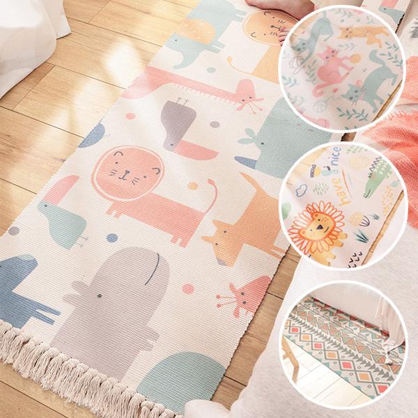 繽紛柔彩動物純棉手工編織地毯(附防滑墊) 客廳地毯,臥室地毯,防滑墊,北歐地毯