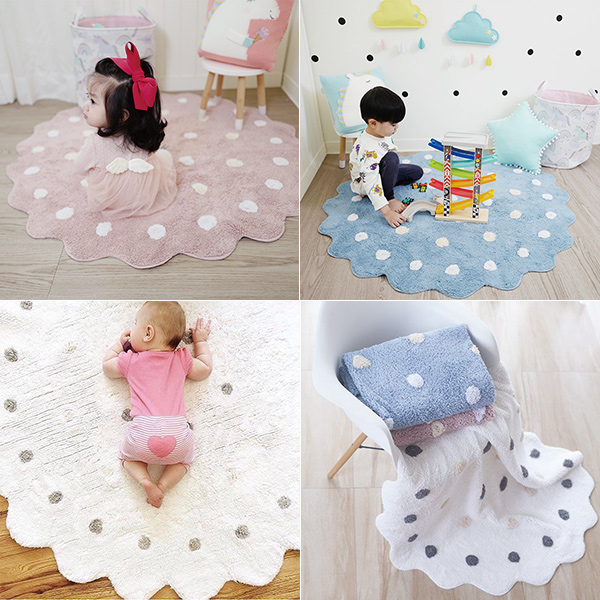 北歐厚軟純棉針織圓點花瓣超大120cm地墊 純棉地墊,保暖地墊,桌椅地墊,遊戲地墊,兒童房佈置,帳篷地墊,