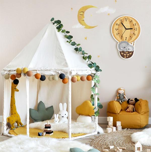 童趣熱氣球小獅子無聲靜音時鐘 兒童房時鐘  學習時鐘 動物時鐘 靜音時鐘 兒童時鐘 動物時鐘
